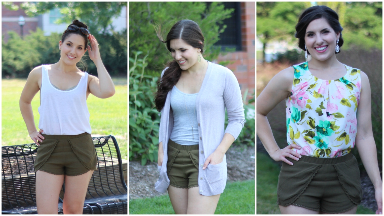 One Item, Three Ways | Olive Shorts