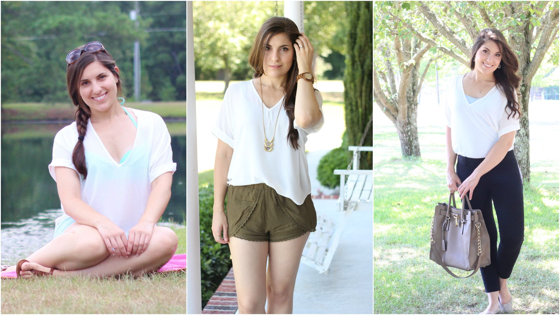 One Item, Three Ways | White Drapey Shirt